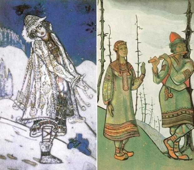 Н. Рерих. Слева – эскиз костюма Снегурочки. Справа – Снегурочка и Лель, 1921