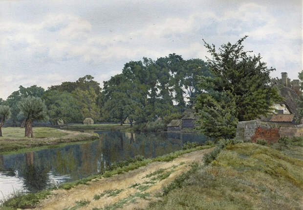 Старая мельница в Хемингфорд-Грей (The Old Mill Hemingford Grey). 1886 (656x454, 350Kb)