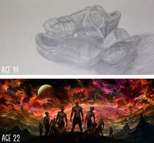 Как выглядели рисунки художников в самом начале их практики и как выглядят сейчас