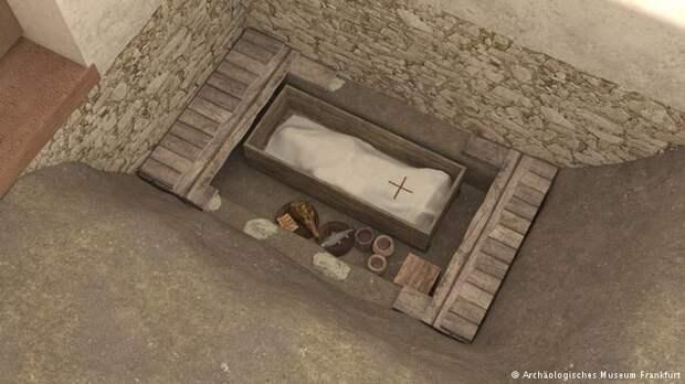 Так выглядела детская могила (реконструкция): под саваном с крестом покоились останки детей