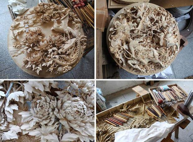 Реалистичные скульптуры из дерева от китайских мастеров