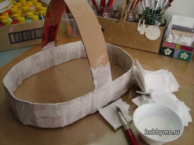 Пасхальная корзинка из картона своими руками