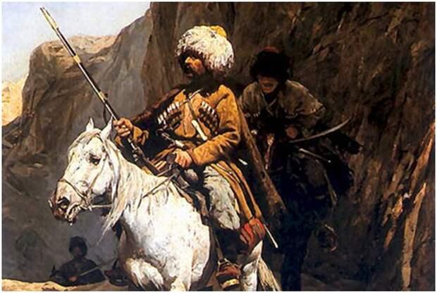 Черкесская разведка (художник А. Ковальский-Веруш. Картина создана около 1885 г., находится в частном собрании)