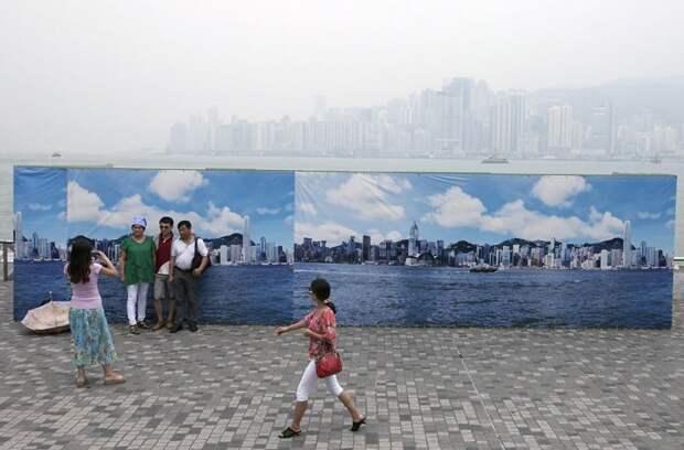 14. Фальшивое небо Гонконга для туристов загрязнение, китай, экология