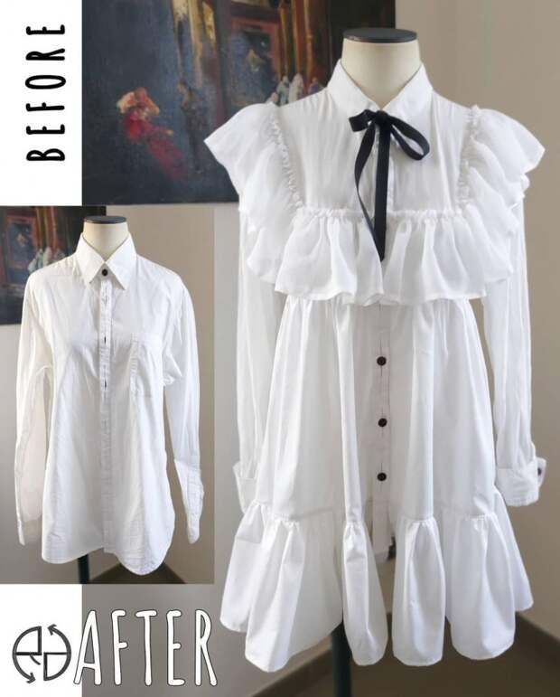 Платье из  мужских рубашек