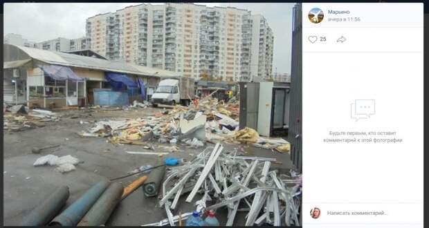 Фото дня: в Марьине снесли продуктовый рынок «90-х»