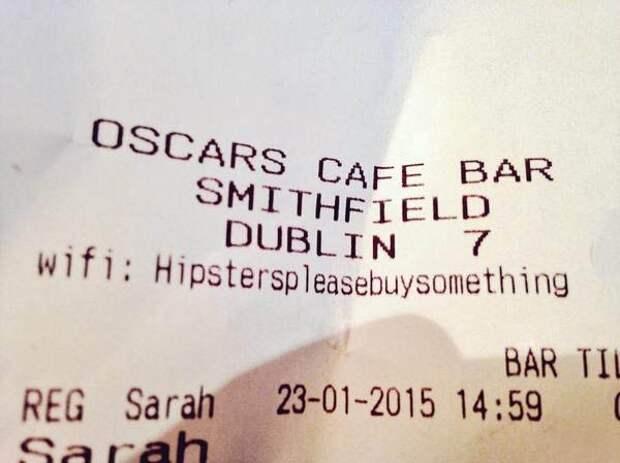 Пароль к WiFi в кафе Дублина