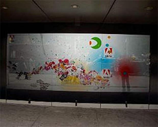 Компания Adobe поставила интерактивный щит в Нью-Йорке