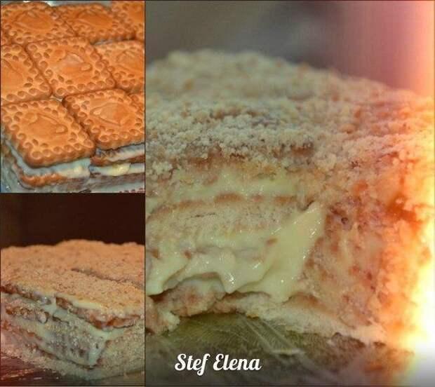 Быстрый торт из печенья с заварным кремом.