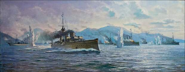 Бой 27 января 1904 г. Начало русско-японской войны. На первом плане крейсер 2-го ранга «Новик». Источник фото: tsushima.su