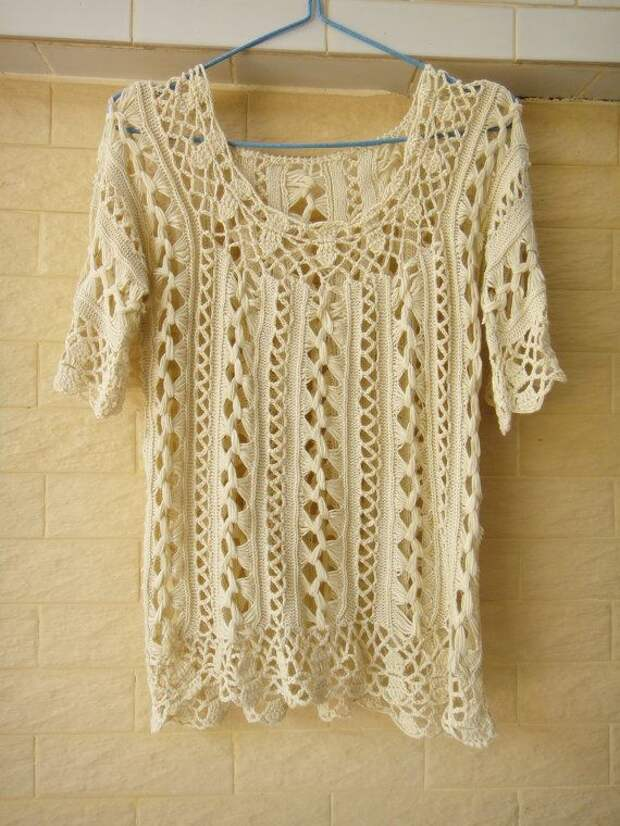 Handmade Crochet Bell Sleeve Tops Summer Womens Sheer Blouse