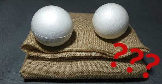 Шикарная новогодняя идея из мешковины и пенопластового шарика