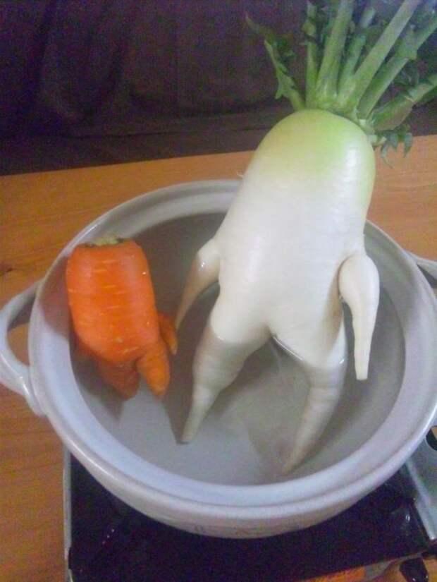 18. В ванной с друзьями овощи, фрукиы
