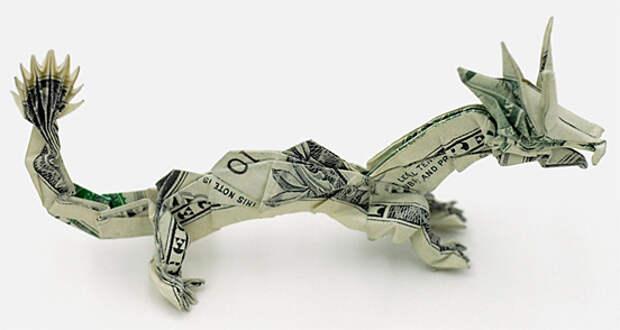Оригами из денег - дракон
