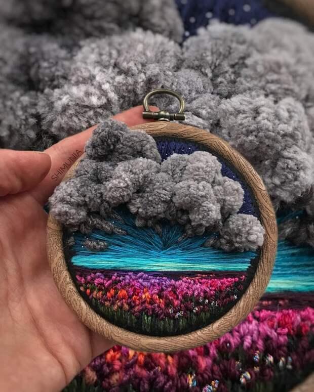 Невероятные живописные пейзажи на объёмных мини-вышивках