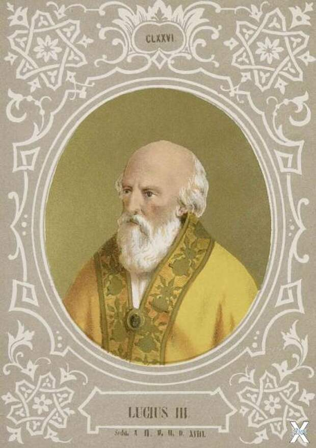 Папа Луций III. Хромолитография из кн...