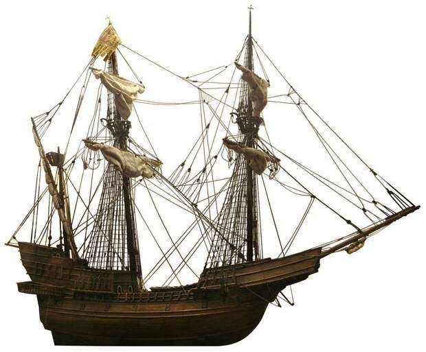 Модель венецианского галеона, построенного Матео Брессаном в 1526–1530 годах. Будучи «достойным повторения», галеон был обмерян при сдаче его на слом в 1547 году: длина корпуса между перпендикулярами составляла 47,2 м, длина по килю — 34,8 м, наибольшая ширина — 13,1 м. На модели три мачты, хотя в истории говорится о четырёх (как на следующем рисунке) - Превеза: план и импровизация | Warspot.ru