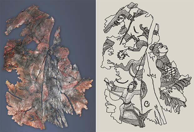 Слева: Вышивка на шелке. Фрагмент верхней одежды. 20-й ноин-улинский курган. Справа: Прорисовка изображений, вышитых на фрагменте шелковой ткани от верхней одежды. 20-й ноин-улинский курган