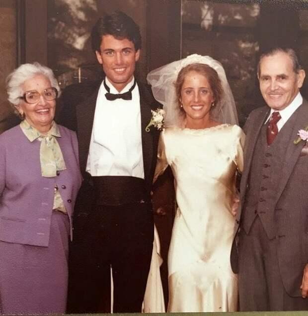 Свадьба Марты и Кевина О'Хара, 1983 год (на фото молодожены с бабушкой Марией и дедушкой Мануэлем, узнаете нашу первую невесту?)