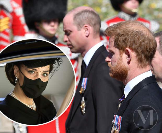 Принц Гарри ушёл с похорон вместе с принцем Уильямом и Кейт Миддлтон