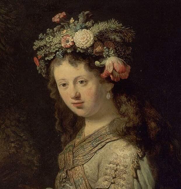 Рембрандт. Саския в образе флоры (фрагмент)