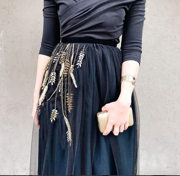 Платье с колосками - этапы декора