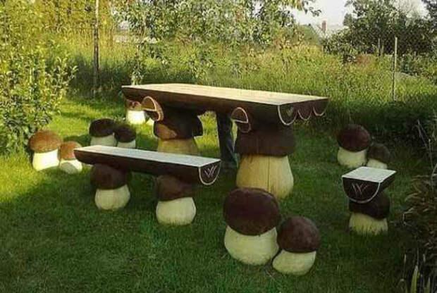 Мебель в виде грибочков. | Фото: Pinterest.ru.