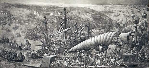 Погрузка на баркасы и высадка имперских войск во время Тунисской операции (1535 год). Гобелен по рисункам Вермейена, входивший в наследство венгерской королевы Марии в 1555 году. Размеры кораблей по сравнению с людьми несколько условны - Превеза: план и импровизация | Warspot.ru