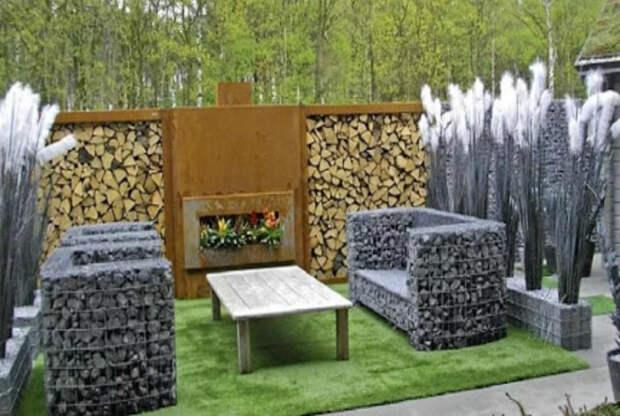 Мебель из габионов. | Фото: Cvet-dom.ru.