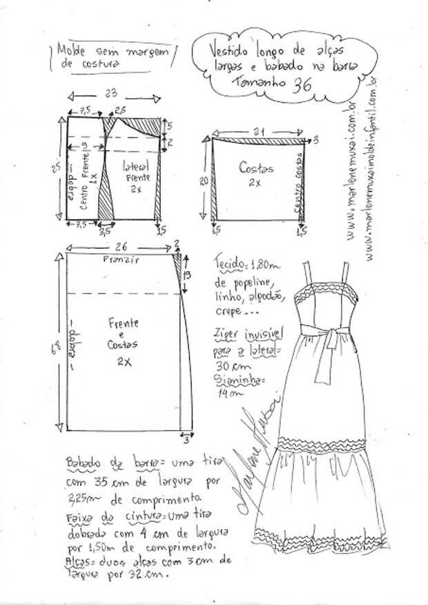 Выкройка летнего нарядного платья