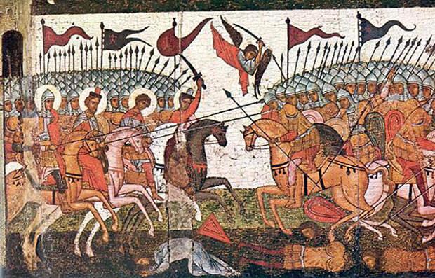 Битва новгородцев и суздальцев, фрагмент иконы. Источник: wikimedia.org
