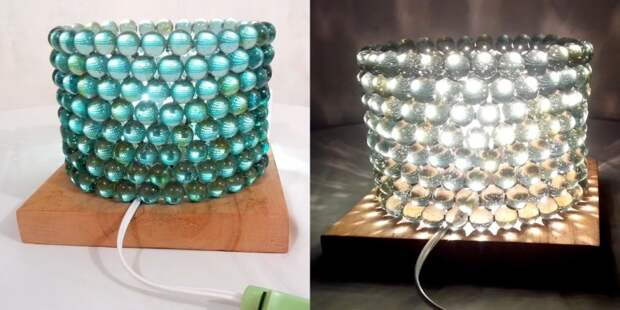 Светильник из стеклянной гальки DIY