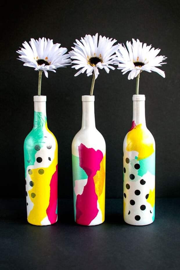 вазы из бутылок