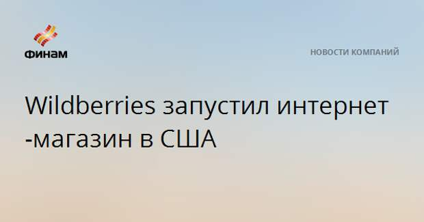 Wildberries запустил интернет-магазин в США