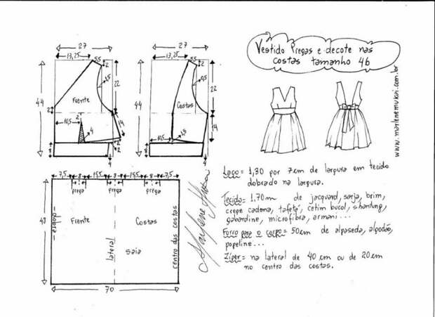 Выкройка летнего платья на несколько евро размеров (+6)
