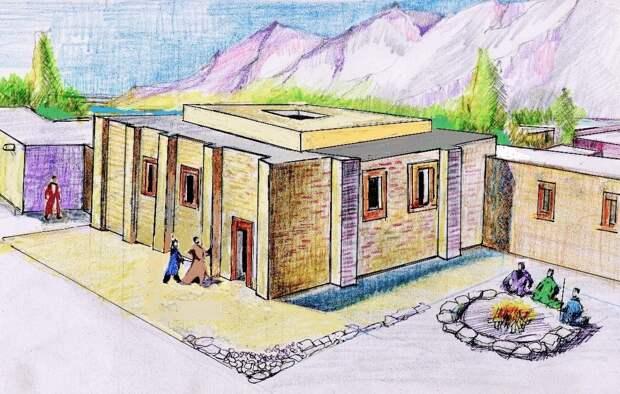 Иллюстрация внешнего облика здания на раскопках
