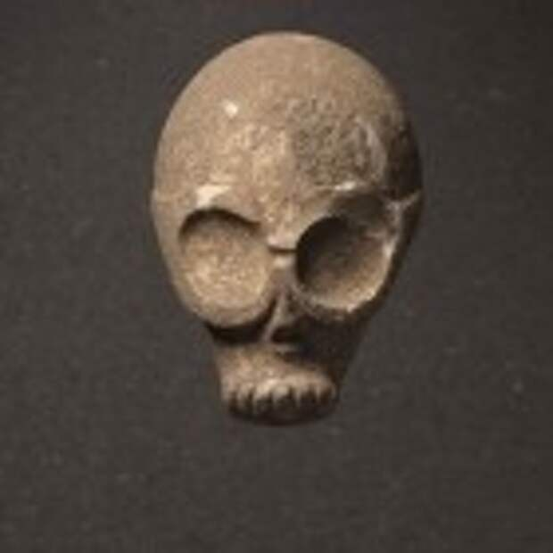 Skull mask/statue, Provenance unknown, Southern slopes of the Judean hills, Pre-Pottery Neolithic B, 9,000 years old. (photo credit: Elie Posner/Israel Museum, Jerusalem)