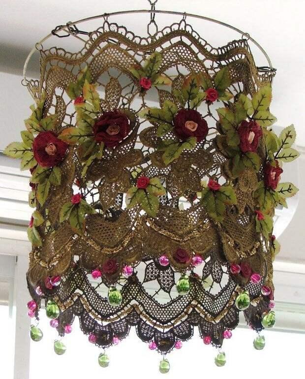 Кружевные абажуры с цветами (подборка)