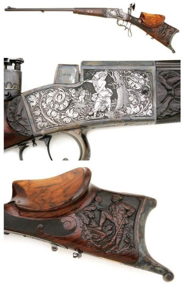 И просто шикарная гравировка на немецкой винтовке, конец 19-го века. искусство, огнестрел, оружие, старинное