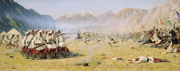 Картина В. Верещагина «Нападают врасплох», 1871 год. Картина не служит иллюстрацией какого-то конкретного боя — художник вложил в неё своё видение некого обобщённого сражения в Туркестане