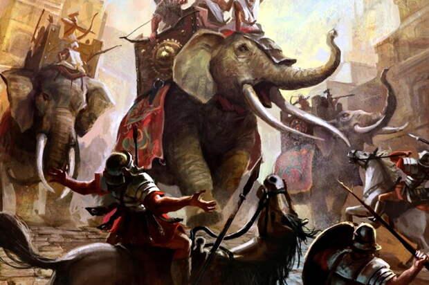 Слоны Карфагена против римской пехоты и кавалерии в представлении современного художника - Мегаполис, стёртый с лица земли | Warspot.ru