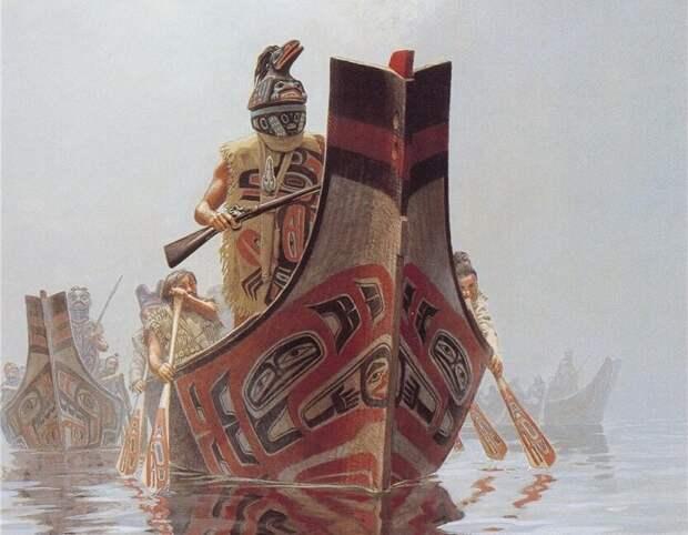 Тлинкиты на каноэ. Иллюстратор: Bill Holm