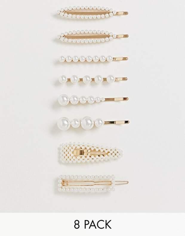 Набор из8 заколок разной формы сискусственным жемчугом ASOS DESIGN
