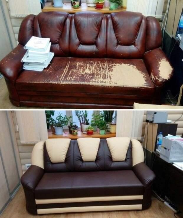 Преобразование старого кожаного дивана.   Фото: besplatka.ua.