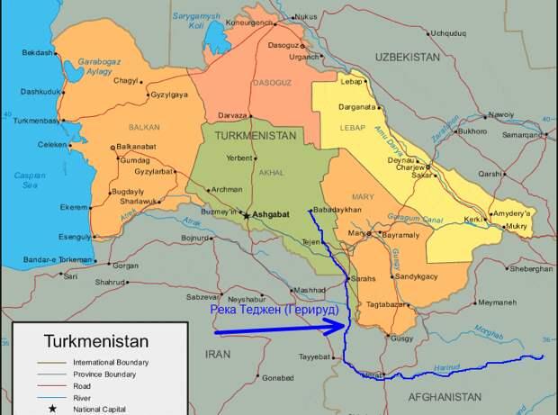 Река Теджен (Герируд) на карте