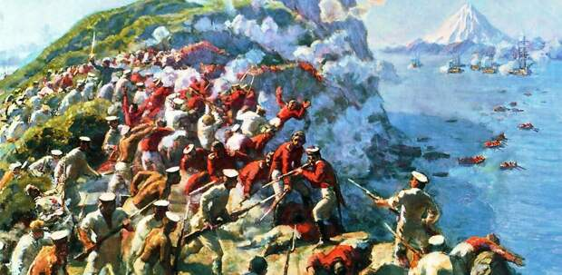 Второй штурм Петропавловска. Имея более выгодное положение, русские отбрасывали десант, усложняя задачу другим частям вражеской армии.