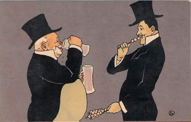 Серия японских шуточных открыток о двух мужчинах, которые выпили слишком много пива и съели слишком много конфет, 1900-е годы.