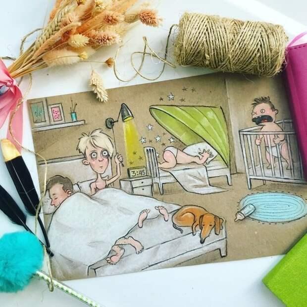 Иллюстрации о повседневной жизни российской мамы будни мамы, иллюстарации, мама и ребенок, повседневность