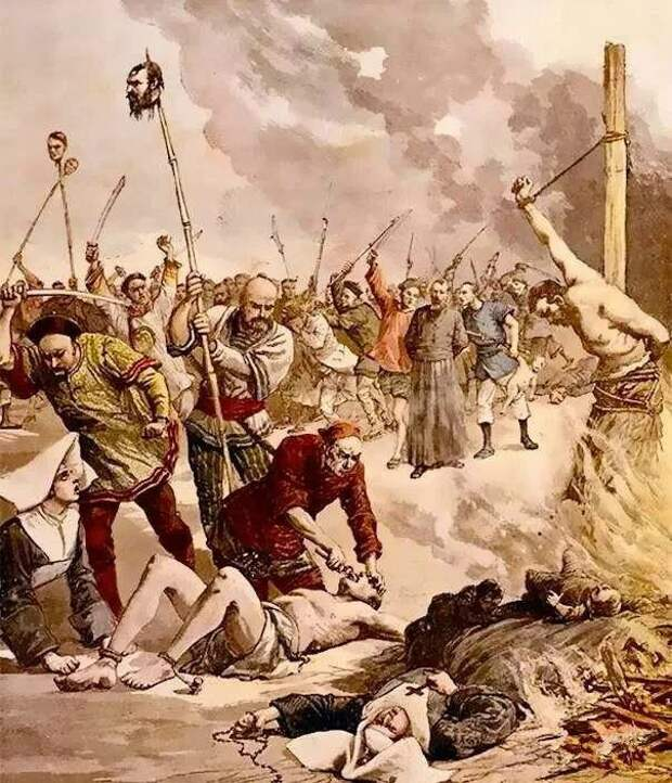Ихэтуани громят католическую миссию