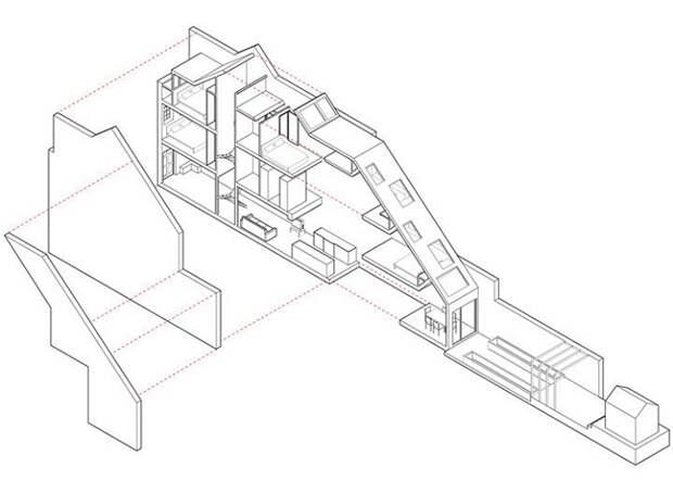 План реконструкции узкого дома.